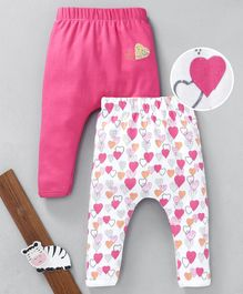 Mom's Love Full Length Diaper Leggings Heart Print Pack of 2 - White & Pink