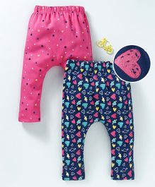 Mom's Love Full Length Diaper Leggings Star & Heart Print Pack of 2 - Pink Navy Blue