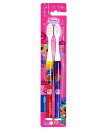 aquawhite Shimmer and Shine TwinMate Kids Soft Toothbrush -  Red Blue