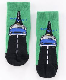 Mustang Ankle Length Socks Car Design - Green