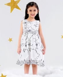 Mark & Mia Frocks Flower Embroidered Sleeveless Dress - Silver