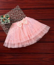 Mark & Mia Sequin Party Skirt Bow Applique - Light Pink
