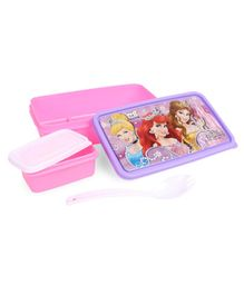 Disney Princess Press Lock Lunch Box With Spoon - Color & Print May Vary