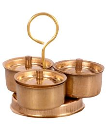 Desi Toys Brass Pretend Playset Trimukh - Golden