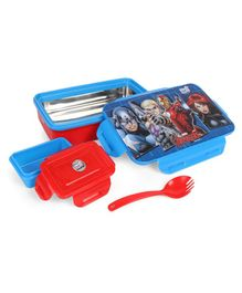 Avengers Rolex Steel Insulated Clip Lock Lunch Box With Spoon - Blue