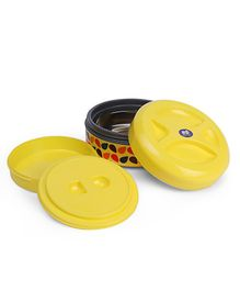 Olive Insulated Round Lunch Box - Yellow