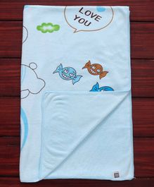 Mee Mee Soft Absorbent Baby Towel Teddy Print - Blue