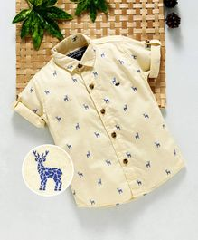 Jash Kids Half Sleeves Reindeer Printed Shirt - Yellow
