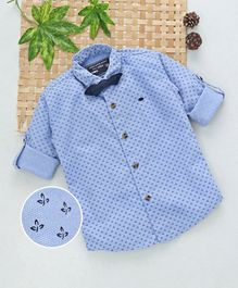 Jash Kids Full Sleeves Leaf Printed Party Wear Shirt With Bow Tie - Blue