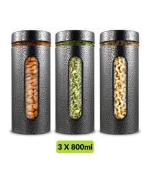 Home Puff Premium Airtight Glass Canisters Silver Pack of 3 - 800 ml