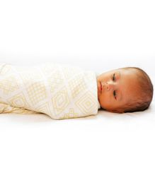 Kaarpas Premium Organic Cotton Muslin Baby Wrap Swaddle with Charming Patterns of Circles & Squares Pack of 2 Large - Pastel Purple Beige
