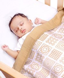 Kaarpas Premium Organic Cotton Muslin 3 Layered Quilt Blanket with Charming Patterns of Squares Medium - Beige