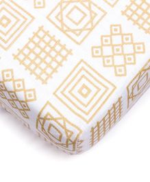 Kaarpas Premium Organic Cotton Muslin Fitted Cot Crib Sheet with Charming Patterns of Squares - Beige
