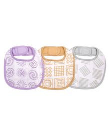 Kaarpas Premium Organic Cotton Muslin Bibs with Charming Patterns of Lines Circles & Squares Pack of 3 Multicolor - Medium