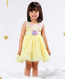 Mark & Mia Sleeveless Party Frock Floral Embroidery - Lemon Yellow