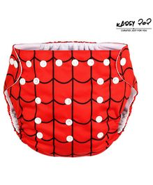 Kassy Pop Reusable Diaper Cover With Cotton Insert Checked - Red