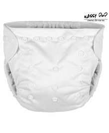 Kassy Pop Reusable Diaper Cover With Cotton Insert - White