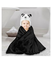 Kassy Pop Hooded Baby Bath Towel Cum Blanket Panda Design -  Black