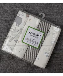 Kassy Pop Cotton Flannel Baby Blankets Pack of 4 - Grey White