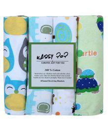 Kassy Pop Cotton Flannel Baby Blankets Pack of 4 - Multicolor