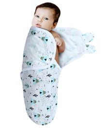 Kassy Pop Cotton Adjustable Infant Swaddle Triangle Print - Blue