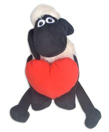 Shaun the Sheep Soft Toy With Heart Plush White & Red - Length 21 cm