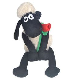 Shaun the Sheep Soft Toy With Rose Flower White & Black - Length 24 cm