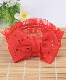 Babyhug Headband Sequin Bow Applique - Red