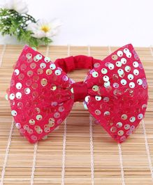 Babyhug Headband With Sequin Bow Applique - Red