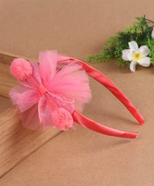 Babyhug Hair Band Pom-Pom Mesh Bow - Peach