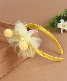 Babyhug Hair Band Pom-Pom Mesh Bow - Yellow