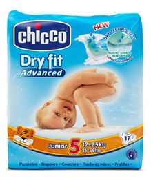 Chicco Dry Fit Advanced Diapers Junior Size - 17 Pieces