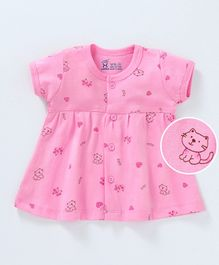Pink Rabbit Half Sleeves Frock Kitty Print - Pink