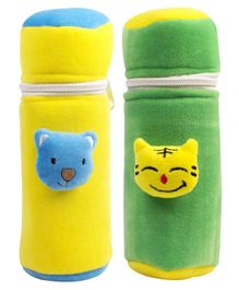 Ole Baby Velvet Feeding Bottle Covers With Animal Motifs Yellow Green Set of 2 - Fits 500 ml