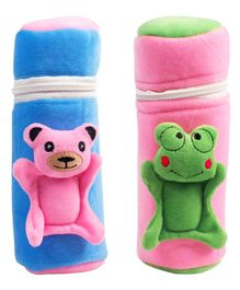Ole Baby Velvet Feeding Bottle Covers With Animal Motifs Blue Pink Set of 2 - Fits 500 ml