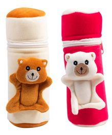 Ole Baby Velvet Feeding Bottle Covers Animal Motifs Cream Red Set of 2 - Fits 500 ml Bottle