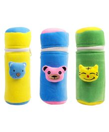Ole Baby Velvet Feeding Bottle Covers With Animal Motifs Blue Yellow Set of 3 - Fits 500 ml