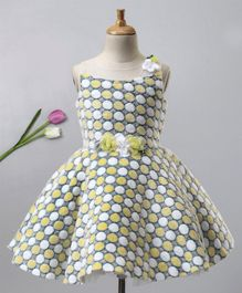 bc73127a668d03 Enfance Polka Dot Design & Flower Applique Sleeveless Dress - Yellow
