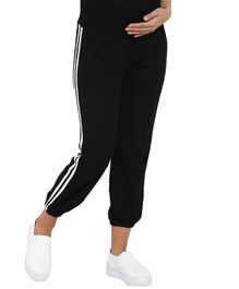 Mamacouture Full Length Side Striped Maternity Track Pant - Black