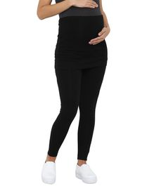 Mamacouture Full Length Solid Skirt Style Maternity Leggings - Black
