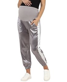 Mamacouture Full Length Side Striped Maternity Track Pant - Silver