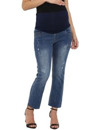 Mamacouture Full Length Distressed Jeans - Blue