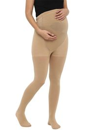 Mamacouture Full Length Solid Maternity Stockings - Beige