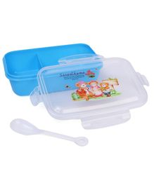 Lunch Box With Spoon - Blue White (Print May Vary)