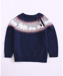 Awabox Full Sleeves Polar Bear Design Sweater - Navy Blue