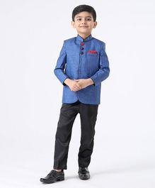 Babyhug Full Sleeves Band Gala Coat Suit - Blue