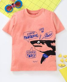 Babyhug Half Sleeves Tee Shark Print - Light Orange