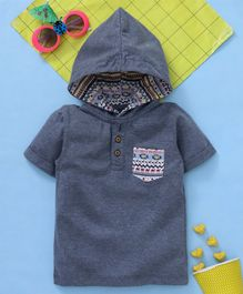 15de384ab0b Babyhug Half Sleeves Hooded Tee - Navy Melange