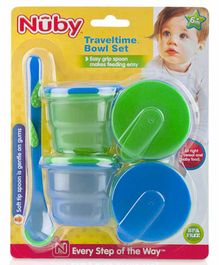 Nuby Travel Time Bowl Set Blue & Green - Pack of 4