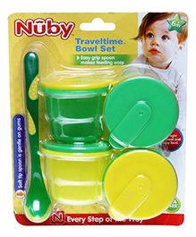 Nuby Travel Time Bowl Set Yellow & Green - Pack of 4